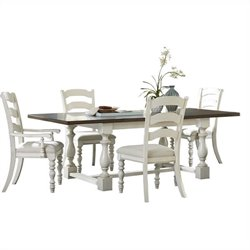 Hillsdale Pine Island 5 PC Trestle Dining Set with Ladder Back Chairs