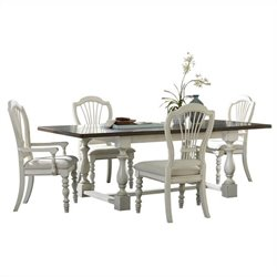 Hillsdale Pine Island 5 PC Trestle Dining Set with Wheat Back Chairs