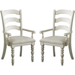 Hillsdale Pine Island Ladder Back Arm Dining Chair (Set of 2)