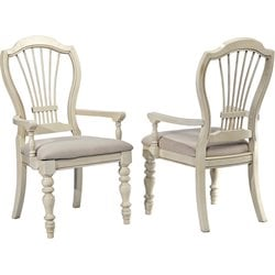 Hillsdale Pine Island Wheat Back Arm Dining Chair (Set of 2)