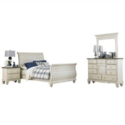 Hillsdale Pine Island Sleigh 4 PC Bedroom in Old White