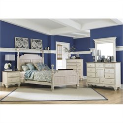 Hillsdale Pine Island Queen Post 5 Piece Bedroom in Old White