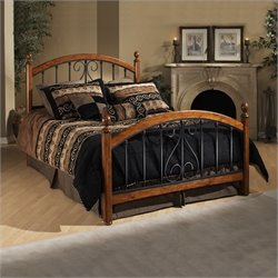 Hillsdale Burton Way Wood and Metal Poster Bed in Cherry and Black - Full
