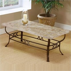 Hillsdale Brookside Ivory Coffee Table with Fossil Stone Top