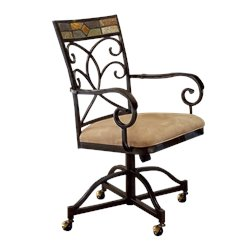 Hillsdale Pompei Fabric Arm Dining Chair in Black and Gold (Set of 2)