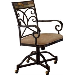 Hillsdale Pompei Fabric Dining Arm Chair in Black and Gold Finish (Set of 2)