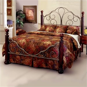 Hillsdale Ardisonne Metal Poster Bed in Old Silver Finish