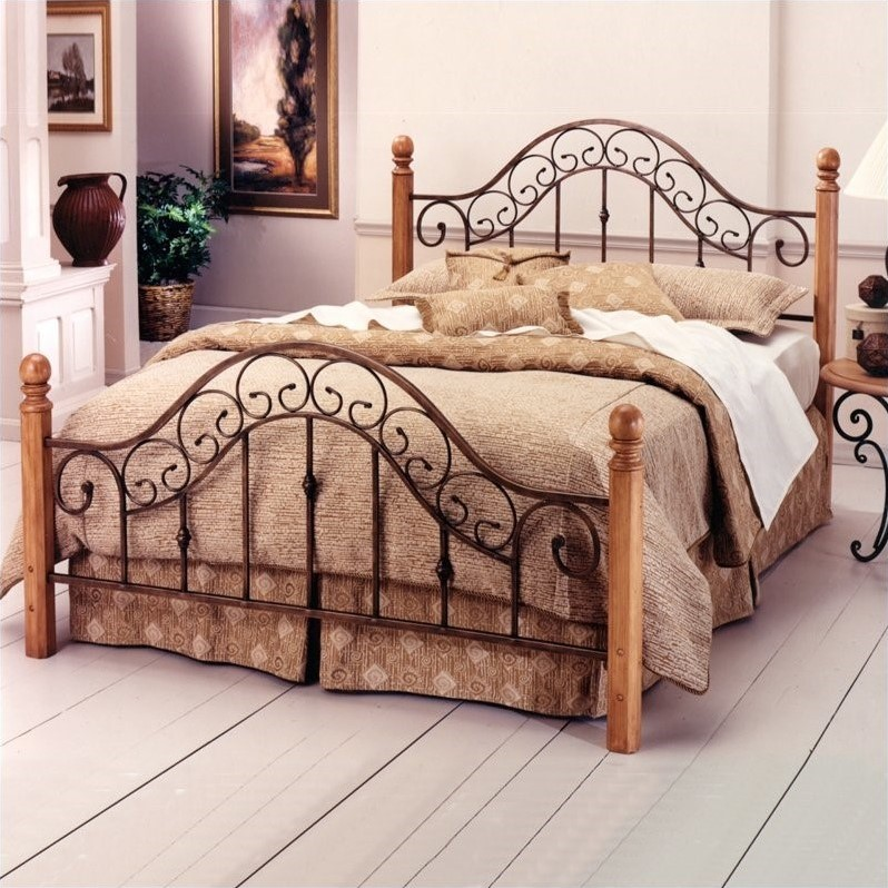 Hillsdale San Marco Metal Poster Bed in Brown Rust Copper Finish