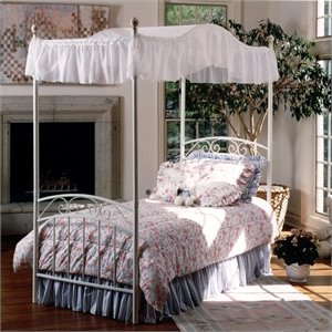 Hillsdale Emily Princess Metal Canopy Bed in White Finish
