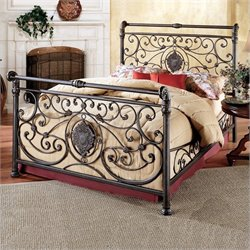 Hillsdale Mercer Metal Sleigh Bed in Antique Brown Finish - King