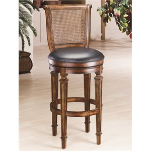 Dalton Leather Cane Back Bar Stool in Distressed Cherry