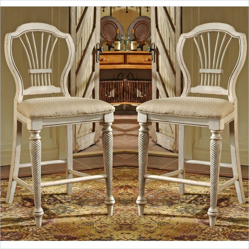 Hillsdale Wilshire White 24 Inch Counter Stool Set Of 2 4508 806