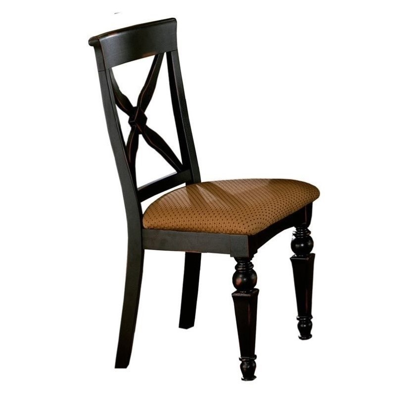 Hillsdale Northern Heights  Dining Chair in Black/Cherry (Set of 2)