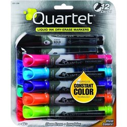 Quartet Anti-Roll Dry-Erase Assorted Markers (Set of 12)