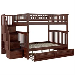 Atlantic Furniture Columbia Staircase Trundle Bunk Bed in Walnut