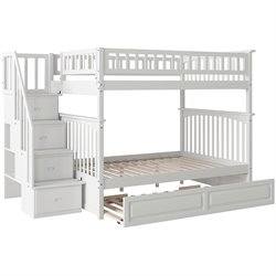Atlantic Furniture Columbia Staircase Trundle Bunk Bed in White