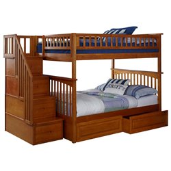 Atlantic Furniture Columbia Staircase Storage Bunk Bed in Caramel Latte
