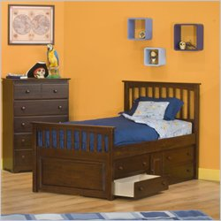 Atlantic Furniture Mate's Storage Bed with Underbed 4 Drawer Chest in Antique Walnut - Full
