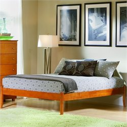 Atlantic Furniture Concord Platform Bed with Open Footrail in Caramel Latte - Twin