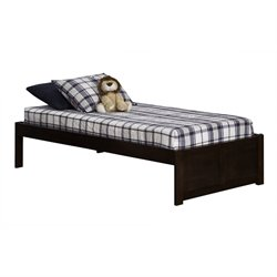 Atlantic Furniture Concord Platform Bed with Flat Panel Footboard in Antique Walnut - King