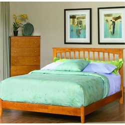 Atlantic Furniture Brooklyn Platform Bed with Open Footrail in Caramel Latte - King