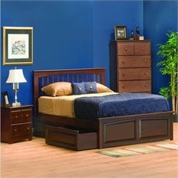 Atlantic Furniture Brooklyn Platform Bed with Raised Panel Footboard in Antique Walnut - King
