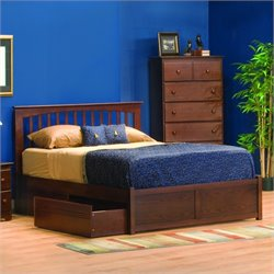 Atlantic Furniture Brooklyn Platform Bed with Flat Panel Footboard in Antique Walnut - King