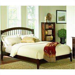 Atlantic Furniture Windsor Platform Bed with Open Footrail in Antique Walnut - King