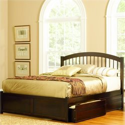 Atlantic Furniture Windsor Platform Bed with Flat Panel Footboard in Antique Walnut - King