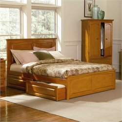 Atlantic Furniture Monterey Platform Bed with Raised Panel Footboard in Caramel Latte - Twin