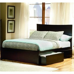 Atlantic Furniture Miami Modern Platform Bed with Flat Panel Footboard in Espresso - Full