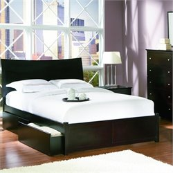 Atlantic Furniture Milano Platform Bed with Flat Panel Footboard in Espresso Finish - Full
