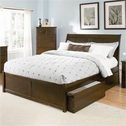 Atlantic Furniture Bordeaux Platform Bed with Flat Panel Footboard in Antique Walnut - Queen