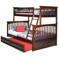 Atlantic Furniture Columbia Trundle Bunk Bed in Walnut