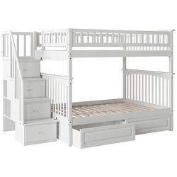 Atlantic Furniture Columbia Staircase Storage Bunk Bed in White
