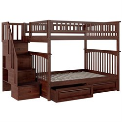 Atlantic Furniture Columbia Staircase Storage Bunk Bed in Walnut