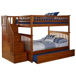 Atlantic Furniture Columbia Staircase Trundle Bunk Bed in Caramel Latte