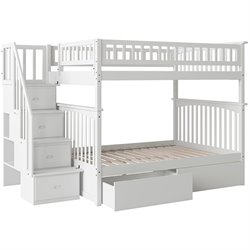 Atlantic Furniture Columbia Urban Staircase Storage Bunk Bed in White