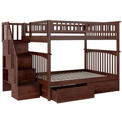 Atlantic Furniture Columbia Urban Staircase Storage Bunk Bed in Walnut