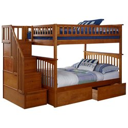 Atlantic Furniture Columbia Urban Staircase Storage Bunk Bed in Caramel Latte