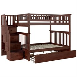 Atlantic Furniture Columbia Urban Staircase Trundle Bunk Bed in Walnut