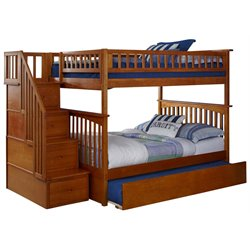 Atlantic Furniture Columbia Urban Staircase Trundle Bunk Bed in Caramel Latte