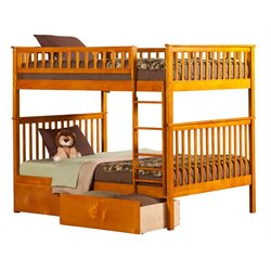 Atlantic Furniture Woodland Urban Storage Bunk Bed in Caramel Latte