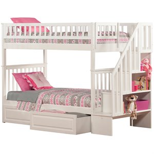Atlantic Furniture Woodland Staircase Storage Bunk Bed in White