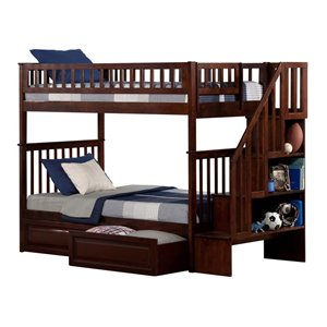 Atlantic Furniture Woodland Staircase Storage Bunk Bed in Walnut
