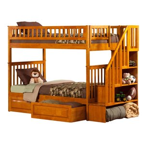 Atlantic Furniture Woodland Staircase Storage Bunk Bed in Caramel Latte