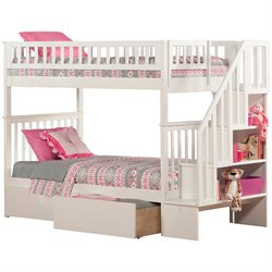 Atlantic Furniture Woodland Urban Staircase Storage Bunk Bed in White
