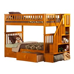 Atlantic Furniture Woodland Urban Staircase Storage Bunk Bed in Caramel Latte