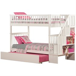 Atlantic Furniture Woodland Urban Staircase Trundle Bunk Bed in White