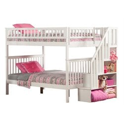 Atlantic Furniture Woodland Staircase Bunk Bed in White